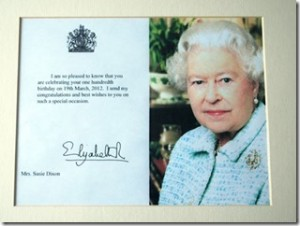 Message from the Queen marking the one hundredth birthday of Mrs Suzie Dixon.