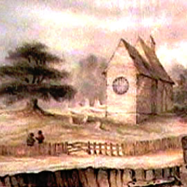 A water colour from the 19th Century of Corhampton Saxon Church 1020AD